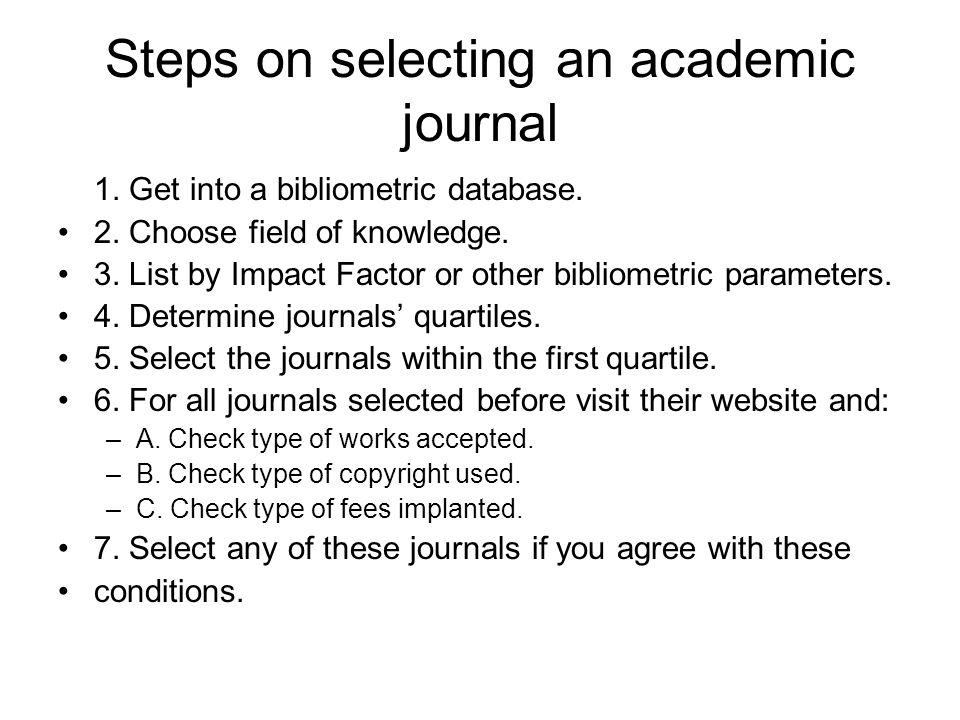 Steps on selecting an academic journal