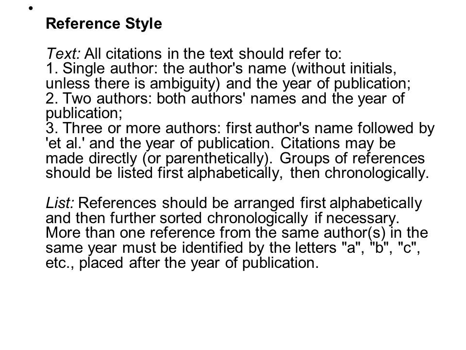 Reference Style Text: All citations in the text should refer to: 1
