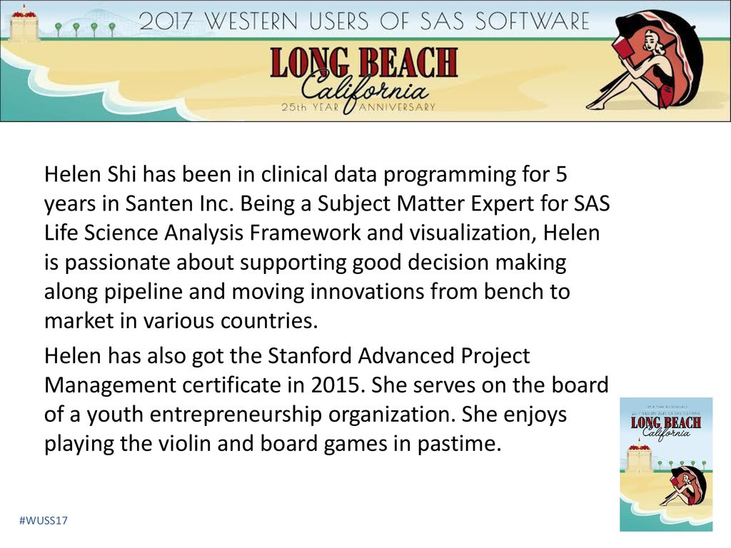 Helen Shi Has Been In Clinical Data Programming For 5 Years In