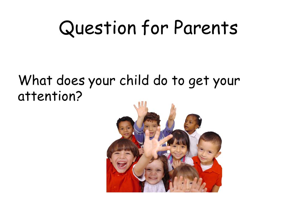 Question for Parents What does your child do to get your attention