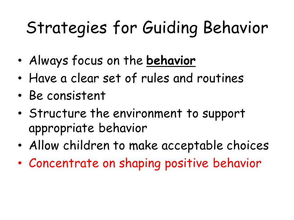 Strategies for Guiding Behavior