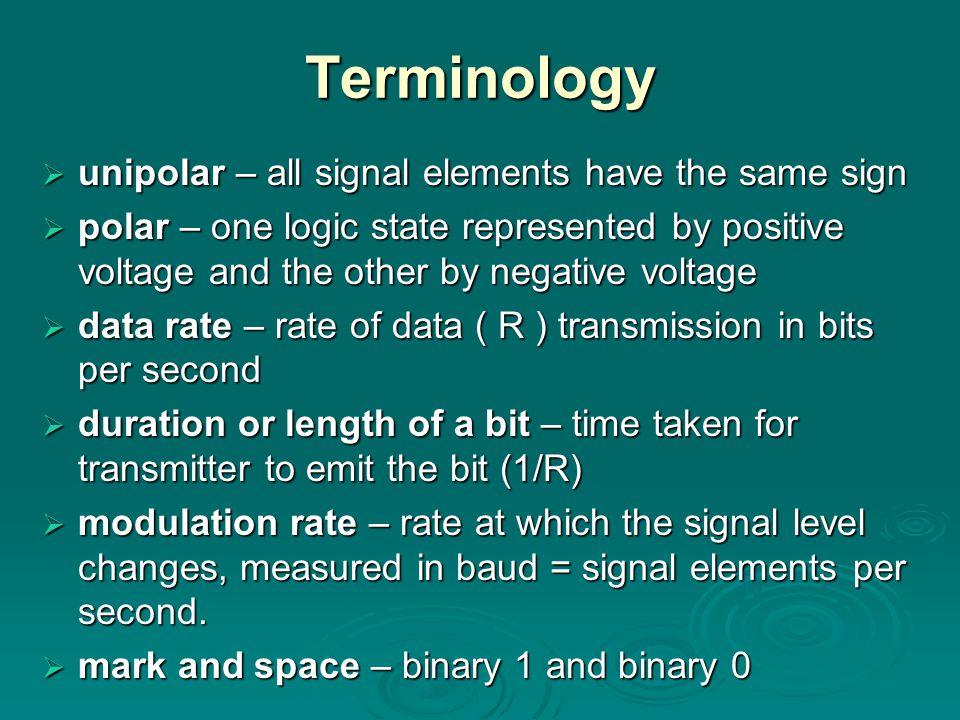 Terminology unipolar – all signal elements have the same sign