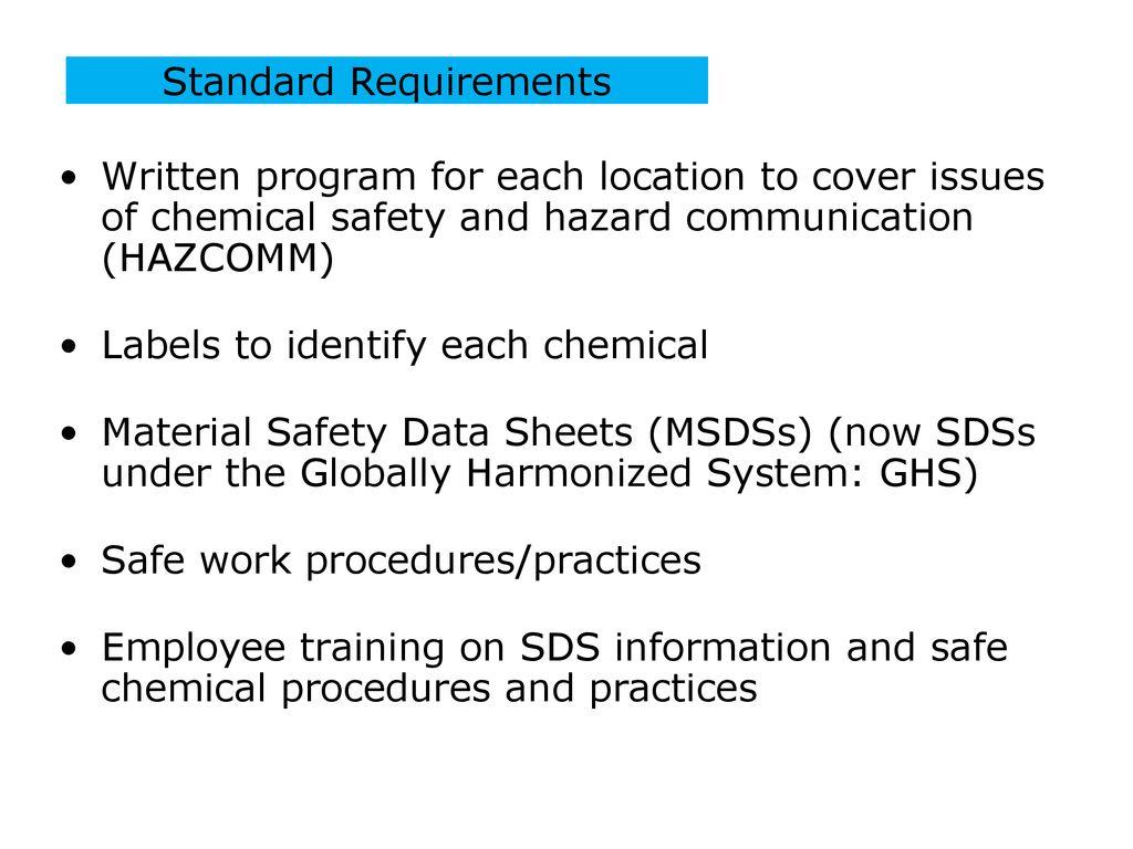 HAZARD COMMUNICATION OSHA 29 CFR 1910 SUBPART Z & - ppt download