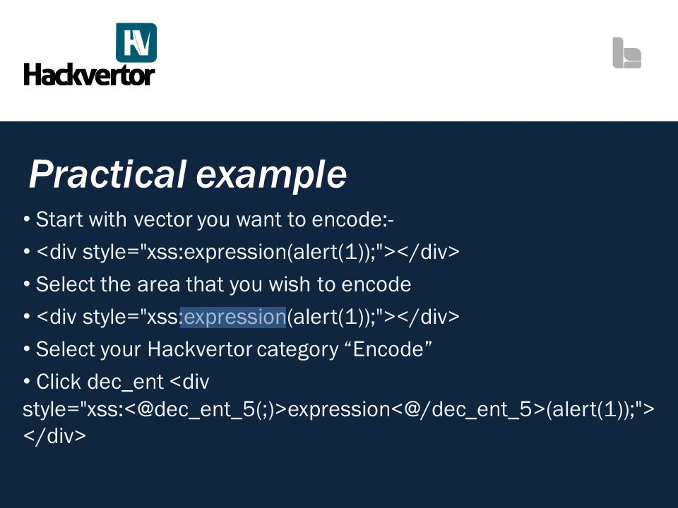 Practical example Start with vector you want to encode:-