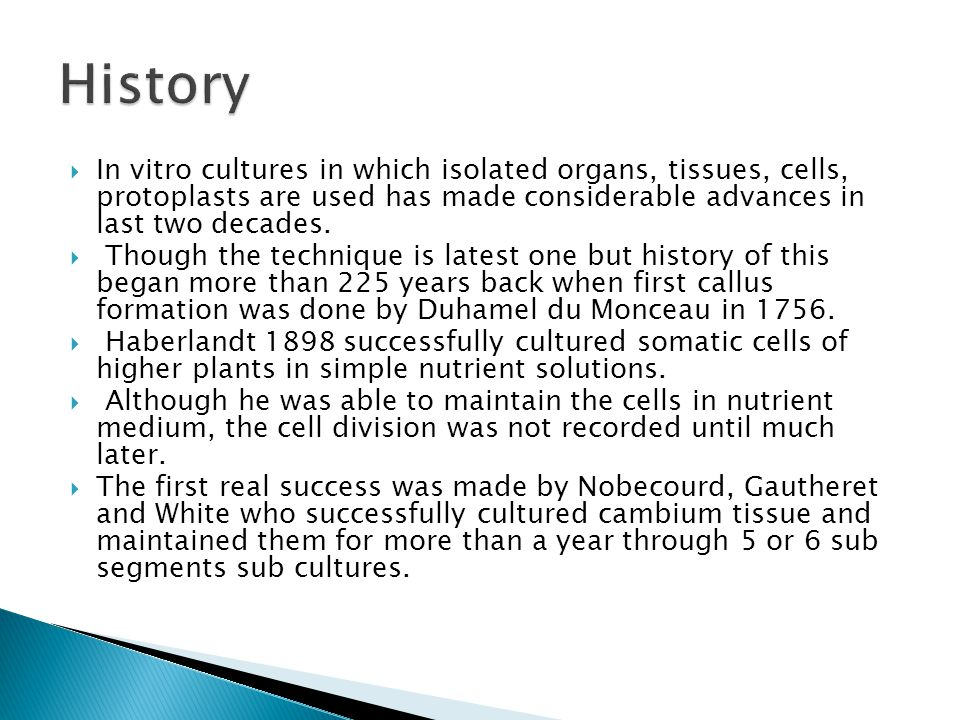 History In vitro cultures in which isolated organs, tissues, cells, protoplasts are used has made considerable advances in last two decades.