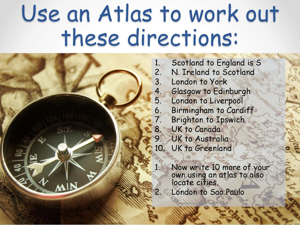 Which Direction?01/01/2019 LG1: To use an Atlas to find