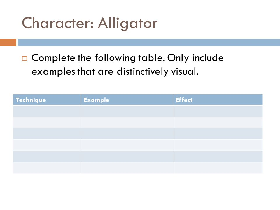 Character: Alligator Complete the following table. Only include examples that are distinctively visual.