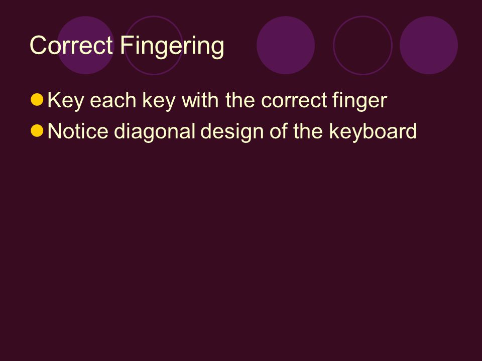 Correct Fingering Key each key with the correct finger