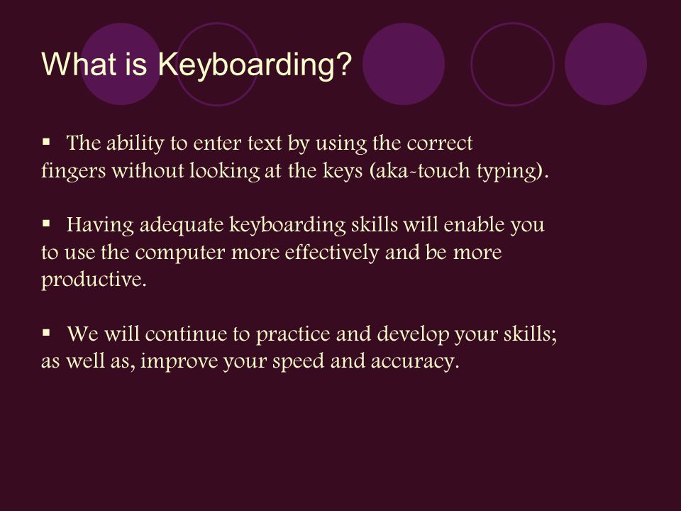 What is Keyboarding The ability to enter text by using the correct