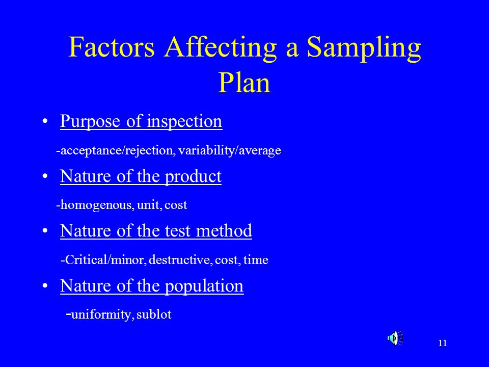 Factors Affecting a Sampling Plan