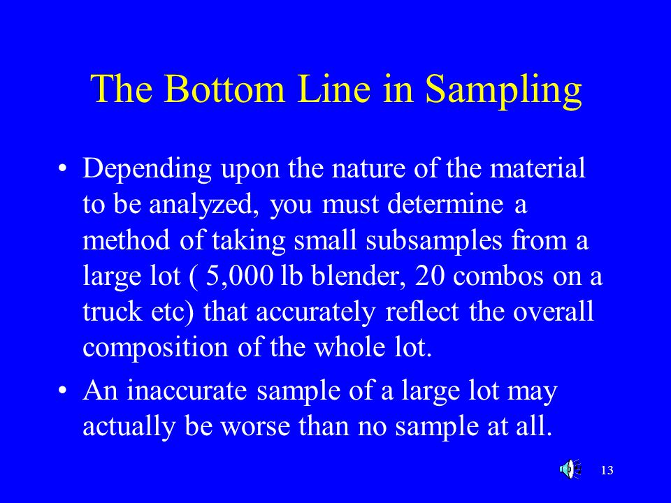 The Bottom Line in Sampling
