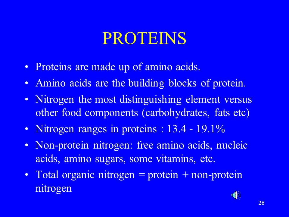 PROTEINS Proteins are made up of amino acids.
