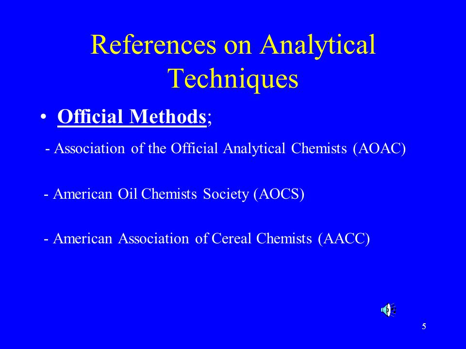 References on Analytical Techniques