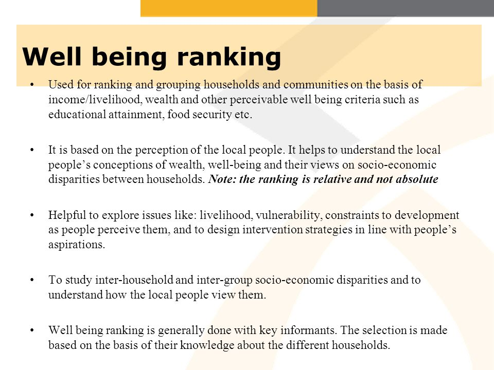 Well being ranking