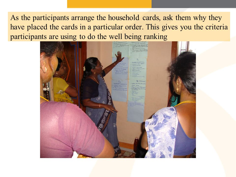 As the participants arrange the household cards, ask them why they have placed the cards in a particular order.