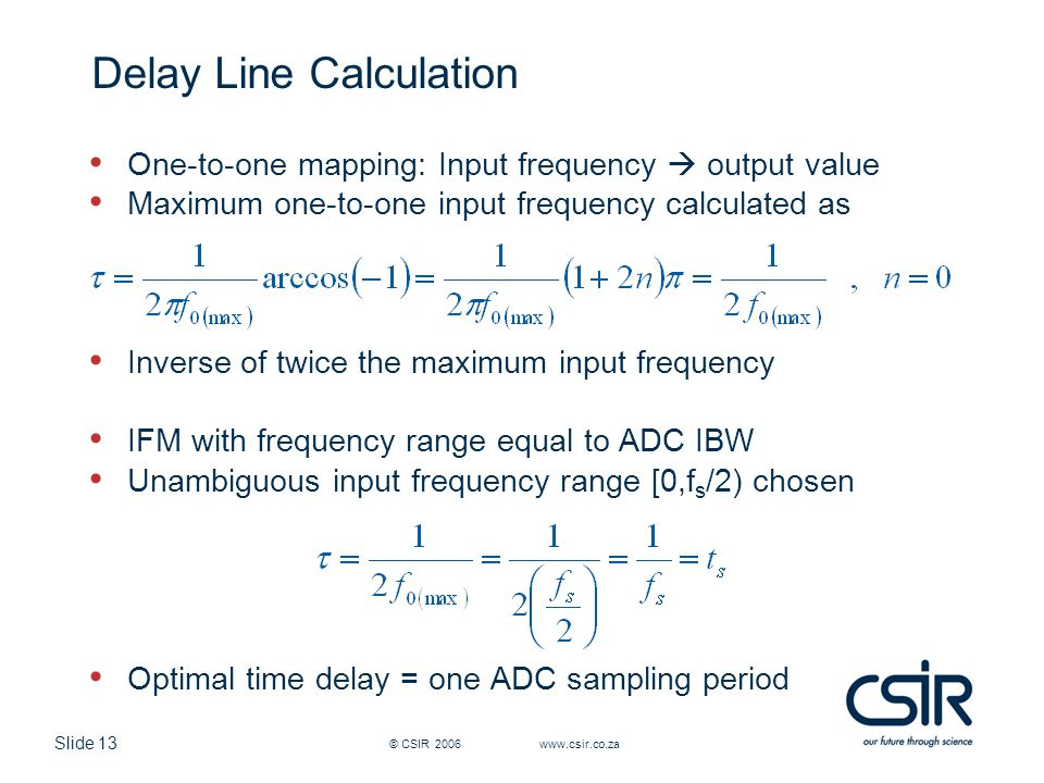 Delay Line Calculation
