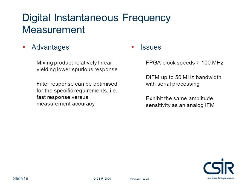 Digital Instantaneous Frequency Measurement