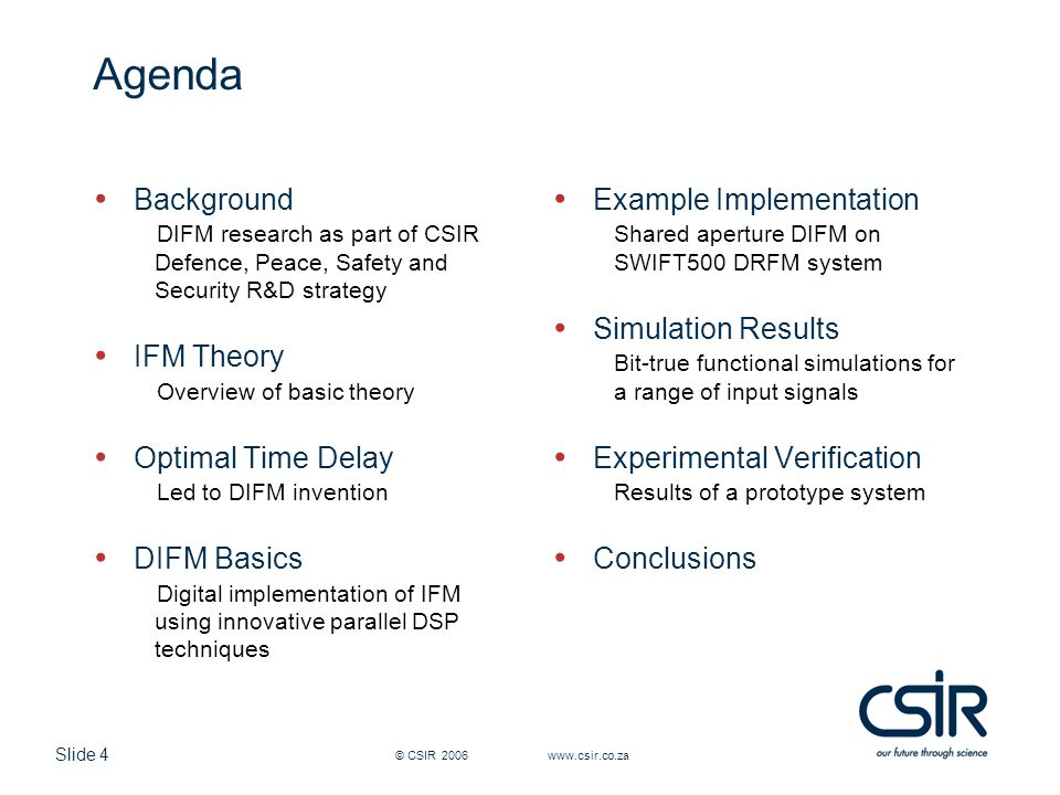 Agenda Background IFM Theory Optimal Time Delay DIFM Basics