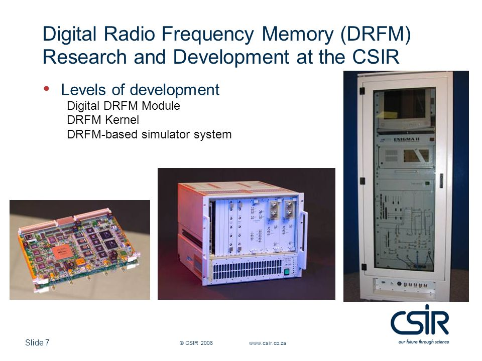 Digital Radio Frequency Memory (DRFM) Research and Development at the CSIR