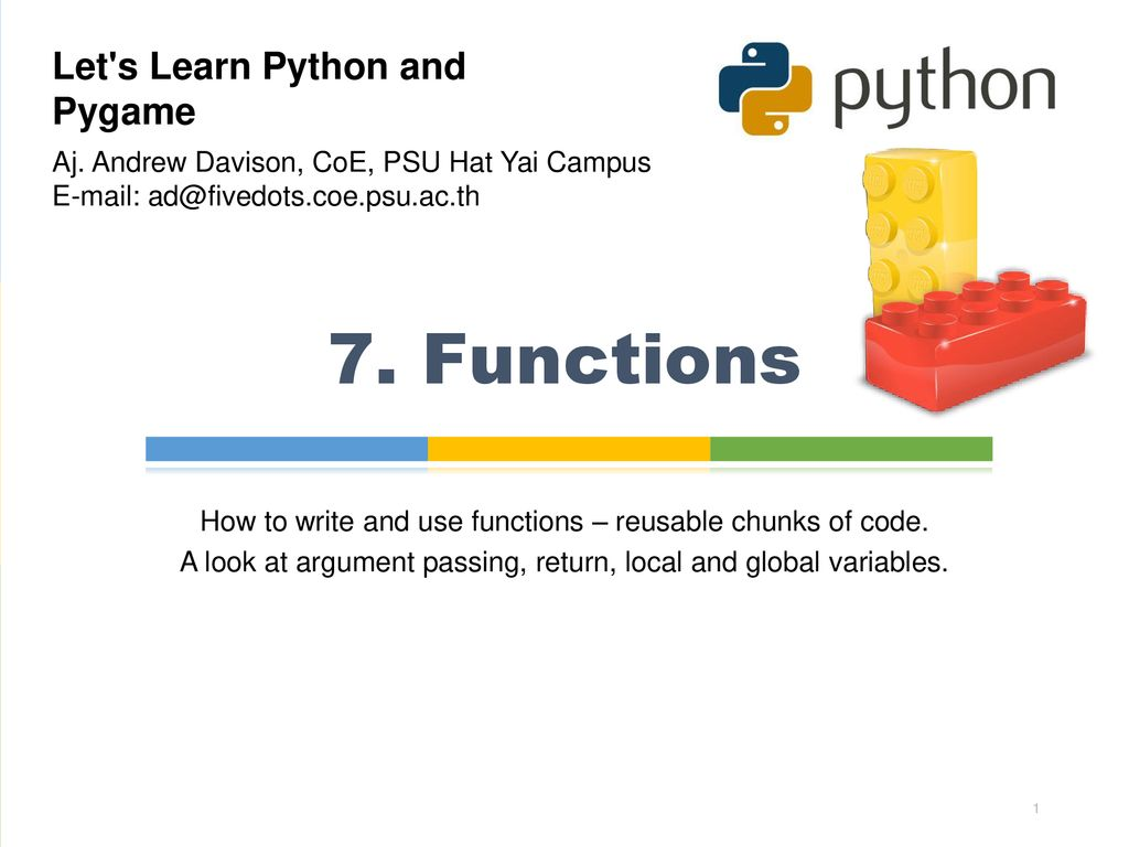 7  Functions Let's Learn Python and Pygame - ppt download