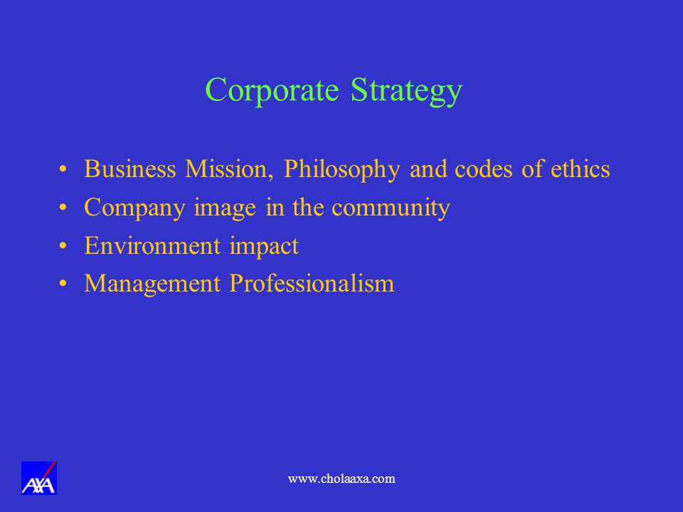 Corporate Strategy Business Mission, Philosophy and codes of ethics