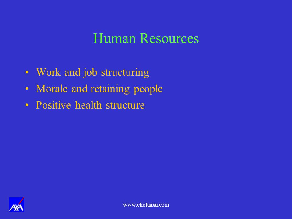 Human Resources Work and job structuring Morale and retaining people