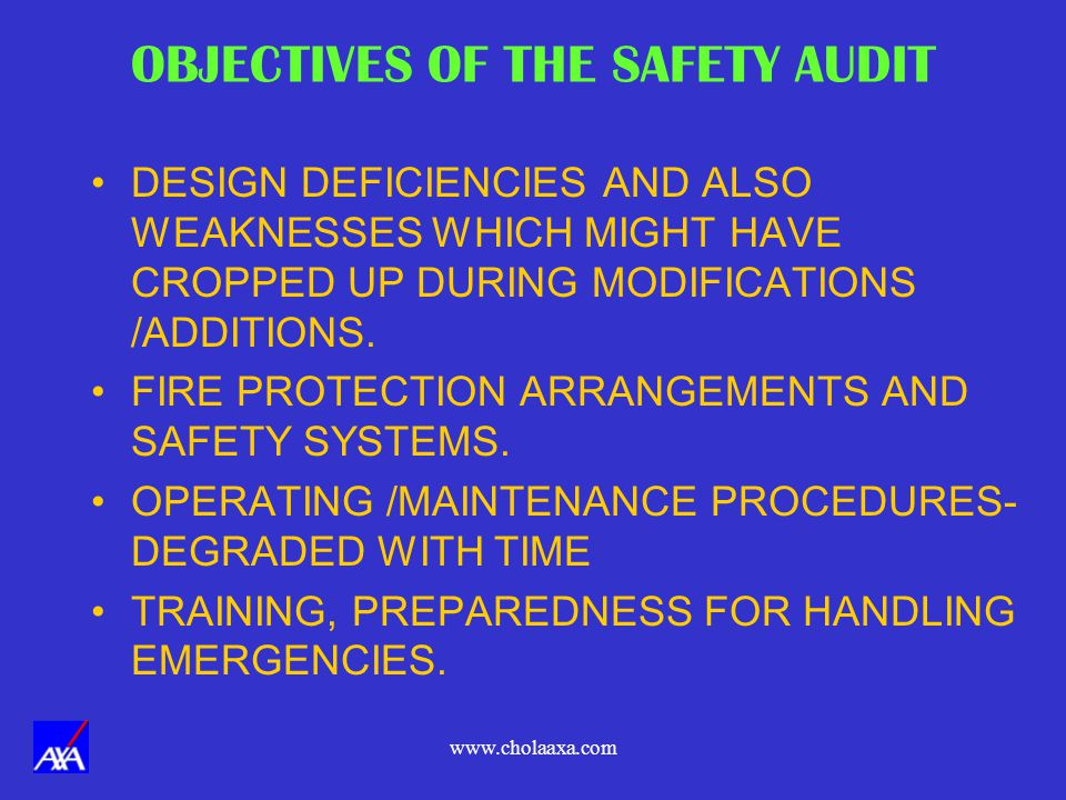 OBJECTIVES OF THE SAFETY AUDIT
