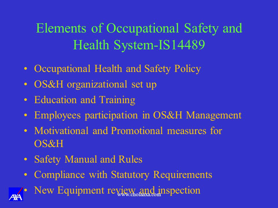 Elements of Occupational Safety and Health System-IS14489