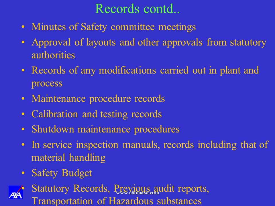 Records contd.. Minutes of Safety committee meetings
