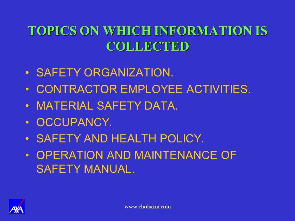 TOPICS ON WHICH INFORMATION IS COLLECTED