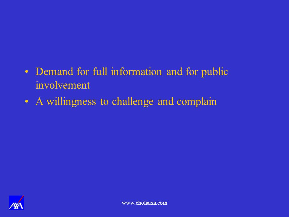 Demand for full information and for public involvement