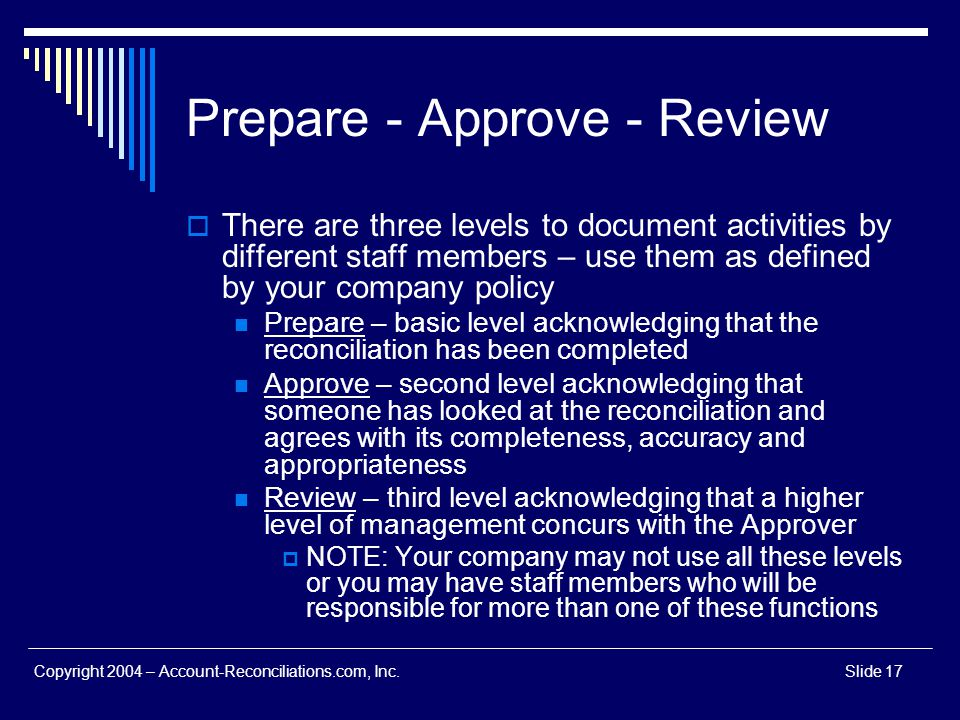 Prepare - Approve - Review