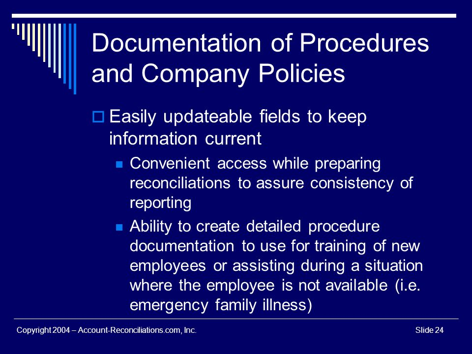 Documentation of Procedures and Company Policies