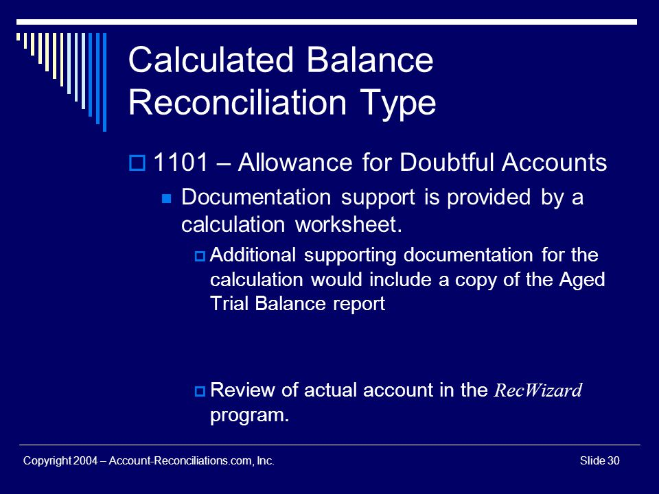 Calculated Balance Reconciliation Type