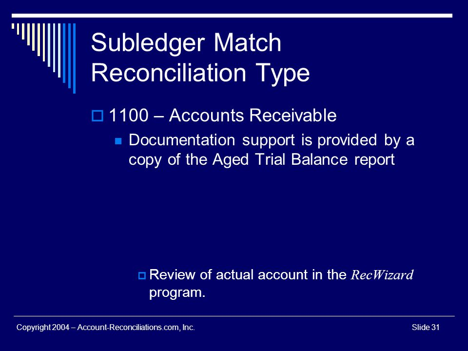 Subledger Match Reconciliation Type
