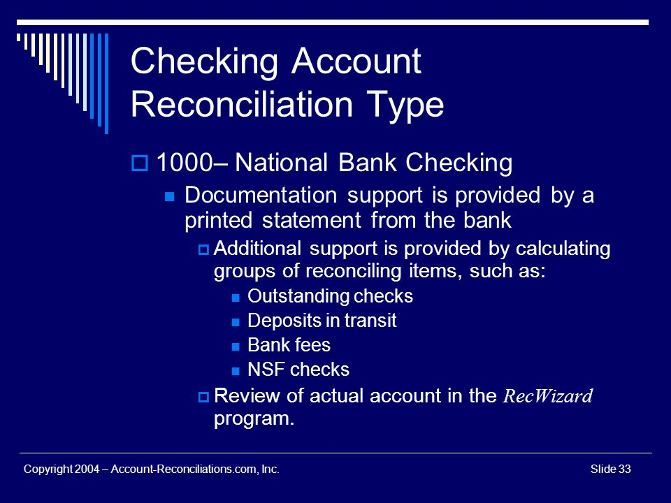 Checking Account Reconciliation Type