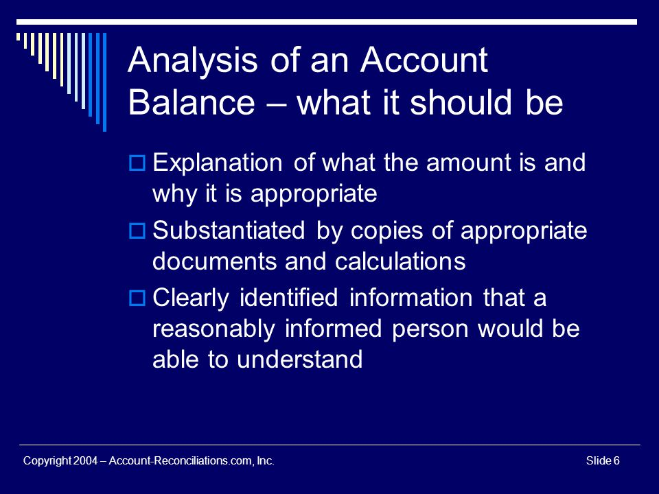 Analysis of an Account Balance – what it should be