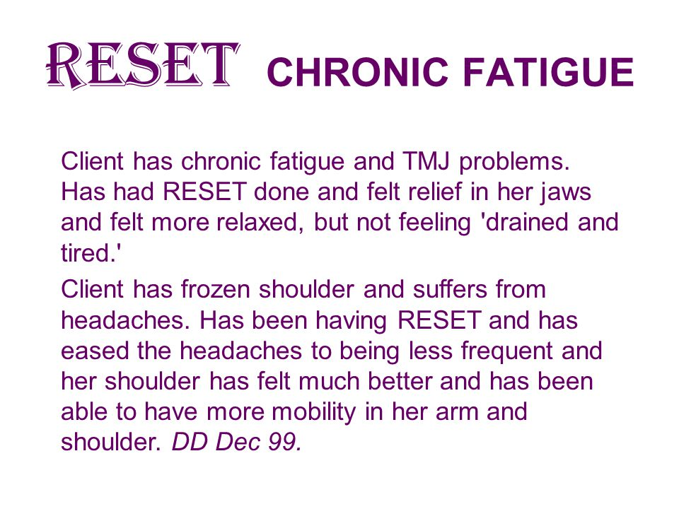 RESET CHRONIC FATIGUE