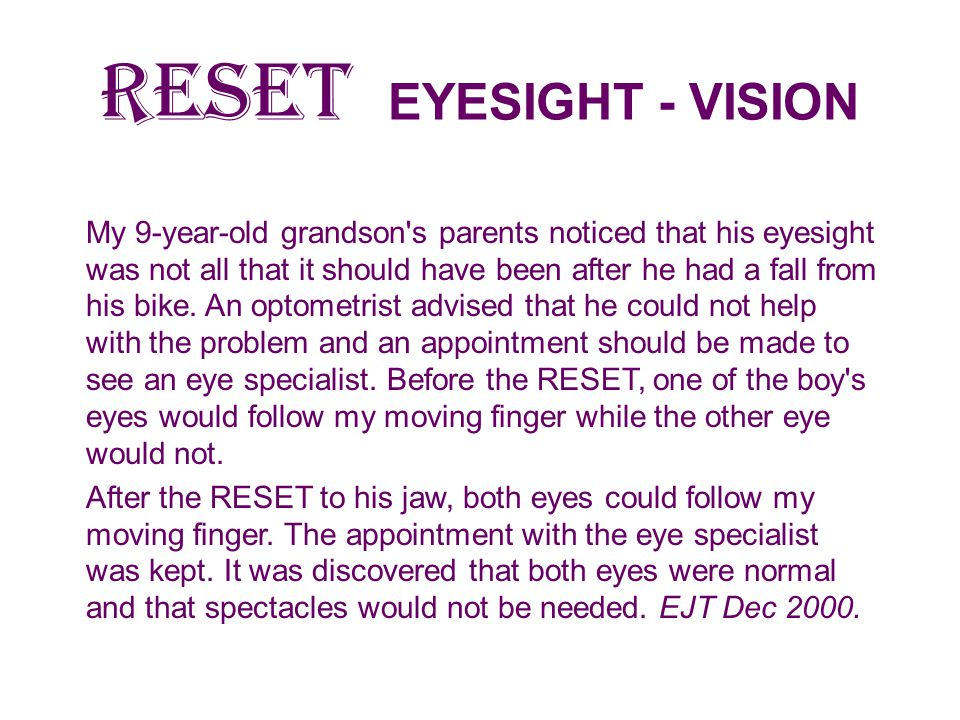RESET EYESIGHT - VISION