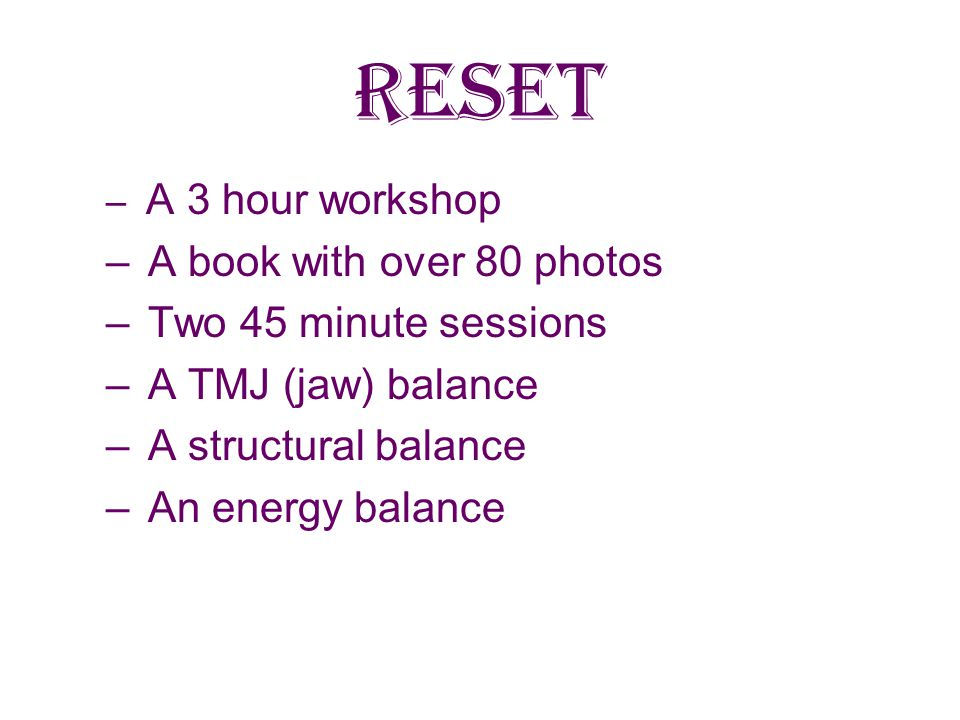 RESET A book with over 80 photos Two 45 minute sessions