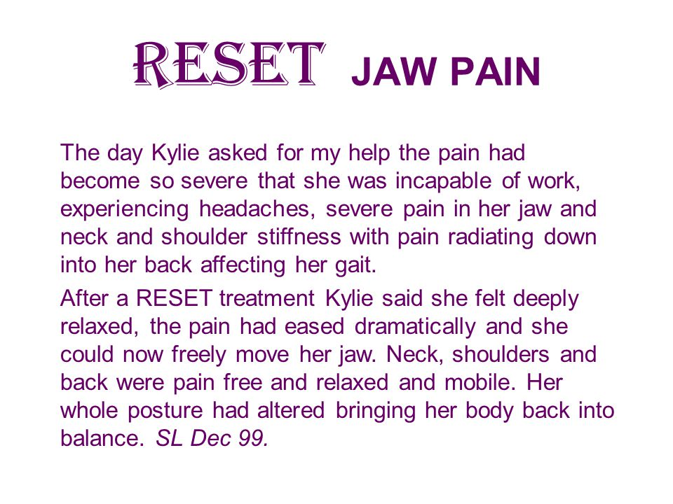 RESET JAW PAIN