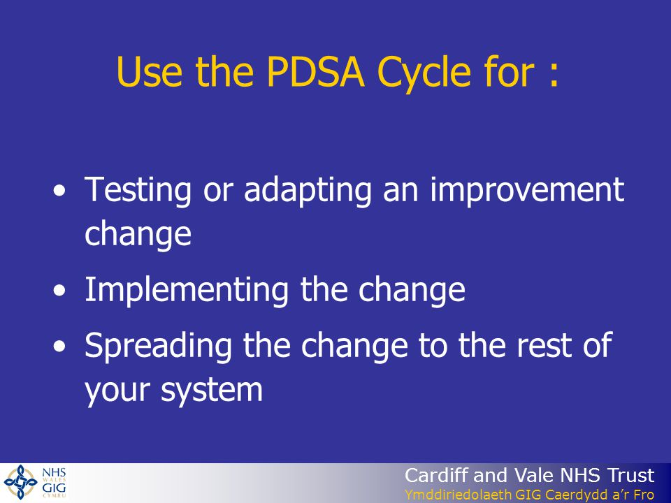 Use the PDSA Cycle for : Testing or adapting an improvement change