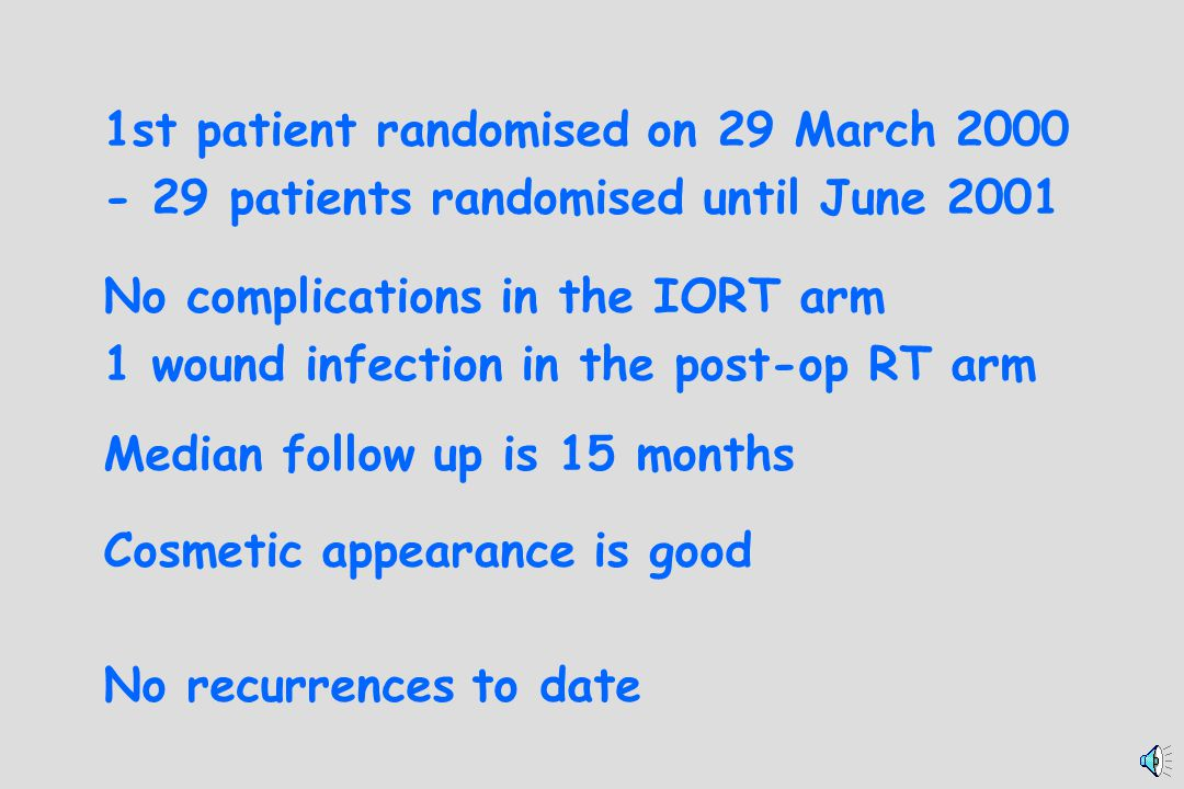 1st patient randomised on 29 March 2000