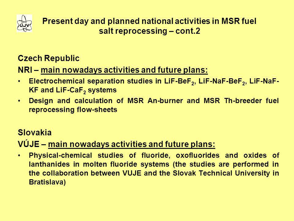 NRI – main nowadays activities and future plans: