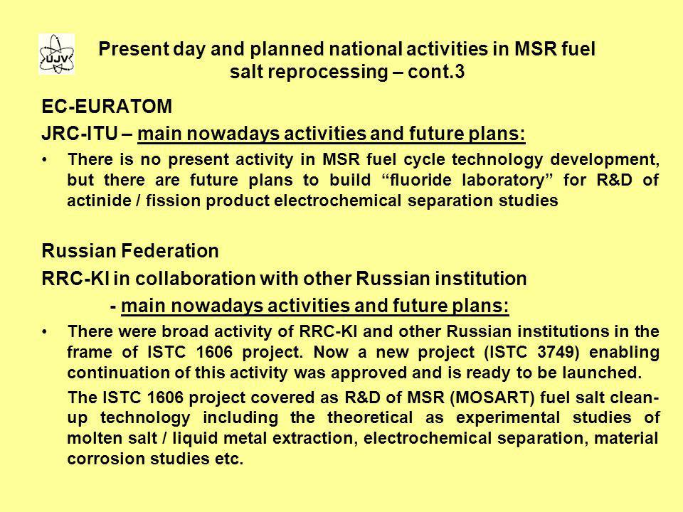 JRC-ITU – main nowadays activities and future plans: