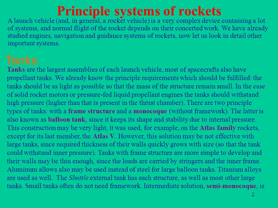 Principle systems of rockets