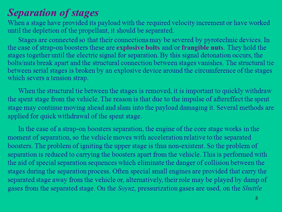 Separation of stages