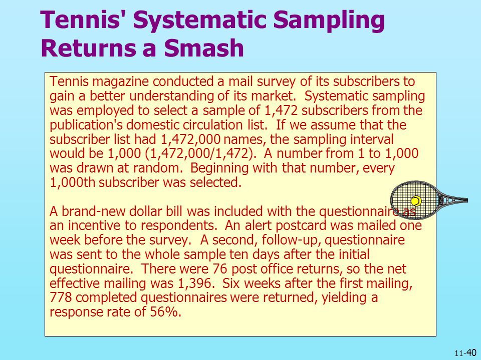 Tennis Systematic Sampling Returns a Smash