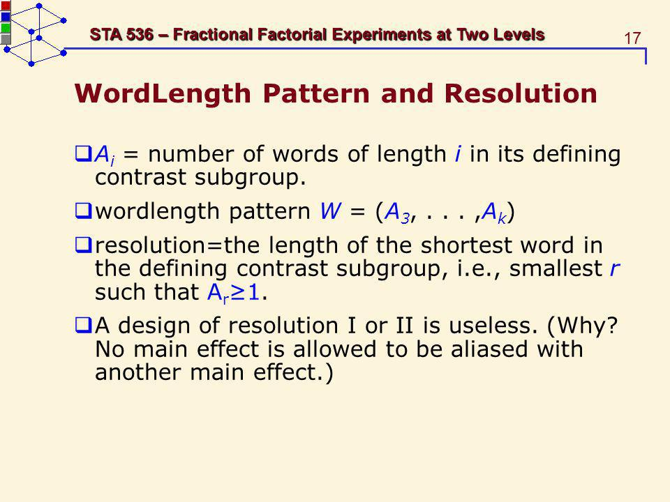 WordLength Pattern and Resolution