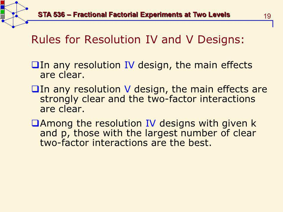 Rules for Resolution IV and V Designs:
